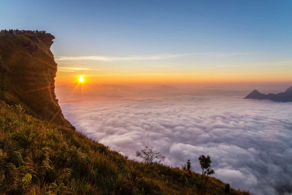 Sunrise scene with the peak of mountain and cloudscape at Phu chi fa in Chiangrai,Thailand